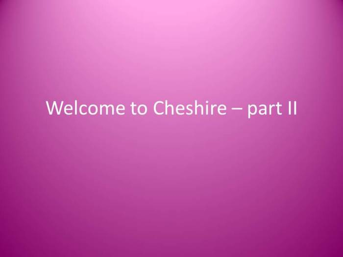 Cheshire? – Part II